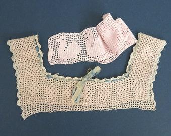 Children's Filet Crochet Lace Pieces Duck Trim Dress Camisole Yolk 576b