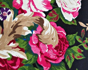 Pink Roses on Black Flower Fabric, Polyester/Rayon/Linen Blend, Fabric by the Yard