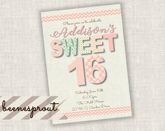 Sweet Sixteen 16 Burlap Birthday Invitation