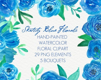 Sketchy Blue Abstract Watercolor Flowers Floral Clip Art Digital Handpainted Roses Blooms PNG Wedding Invitation Small Commercial Use OK