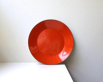 Vintage Mod Orange Enamel Plate Platter Mid-Century Modern