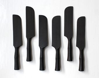 Mid Century Modern Appetizer Knives Spreaders Ebony Knife Set of 6 Hand Carved 1960's