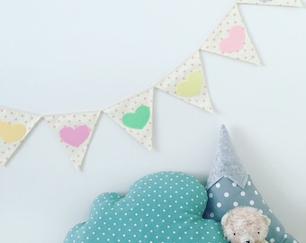NEW Pastel Hearts Baby Bunting, Fabric Banners, Pompoms Garland, Pink, Yellow, Green and Blue Shade - 4.5 ft