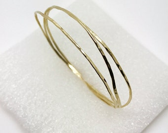 Fine Jewelry. Set of 3 Organic  Bangles. 14K Yellow Gold  Handmade bangles. By Amallias Made to Order