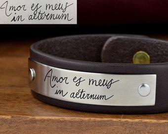 Custom Handwriting Bracelet - Your real handwritten message engraved into a beautiful Stainless Steel and Leather Bracelet