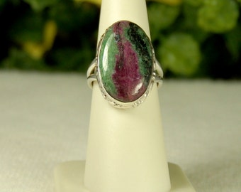 Ruby Fuchsite Ring, Size 7, Ruby Zoisite, Mica Sparkles, Natural Gemstone, July Birthstone, Sterling Silver, Ruby Ring