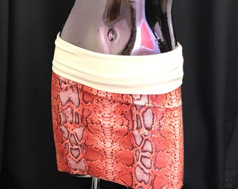Orange & Black Jersey Knit Micro Mini Skirt, beach skirt