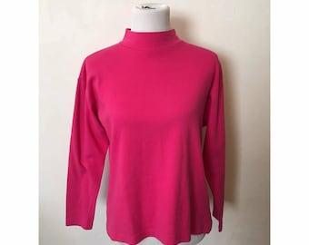SALE 90s Pink Mock Neck Long Sleeve Shirt