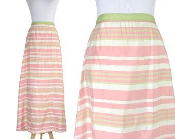 Vintage 60s Pink Stripe Maxi Skirt
