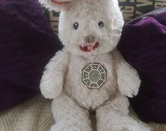 Dharma Initiative Bunny #15- LOST -Creepy OOAK Plush Rabbit with teeth - Green Devil Abandoned Toys, Horror Doll, Scary Plush rabbit Stuffie