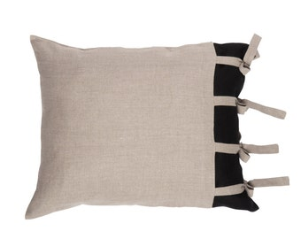 Linen pillowcase with ties, Natural pillowcases with black detail, Queen, King or Euro size pillow shams