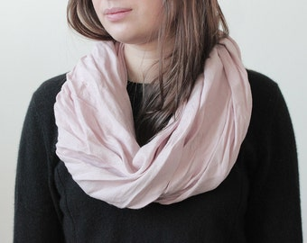 Dusty rose linen infinity scarf, Natural scarf, Neutral light pink scarf