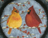 Cardinals Folk Art Painting on Primitive Wood Plate, Red Birds on Snowy Branch, Winter Scene, Red Berries, Snowflakes MADE TO ORDER