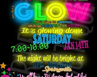 Glow birthday invitation l Dance party l 4x6 l 5x7