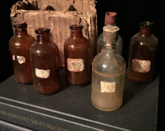 Antique Apothecary Medicine Bottles Set of 6 c. 1918 with Hand Written Labels in Original Box at Gothic Rose Antiques