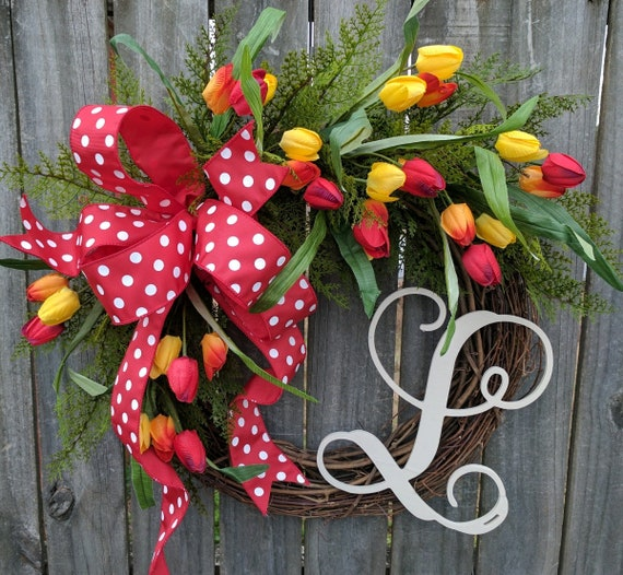 Tulip  Wreath with Monogram For Spring, Red Tulip Wreath For Spring