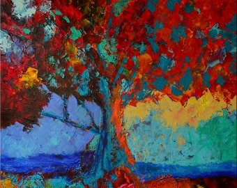 """Fine Art Giclee Print """"The Sentinel"""" From Original Tree Painting by Claire McElveen Signed"""