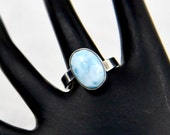 Larimar & Sterling Silver Gemstone Cabochon Modern Adjustable Bypass Ring