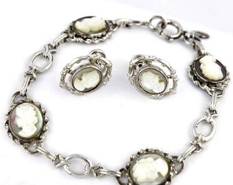 Abalone Cameo Sterling Bracelet & Earrings Set Victorian Revival CC
