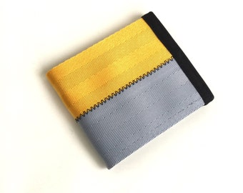 Vegan Wallet with Coin Pocket - Seat Belt Wallet - Yellow and Silver Gray
