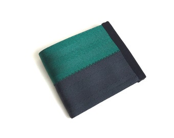 Eco friendly seatbelt wallet in emerald green and black