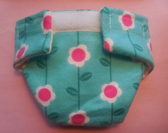 Ready to Ship size #2 cloth Doll Diaper pink flower adjusts washable fits bitty baby some baby alive all gone American Girl doll & more
