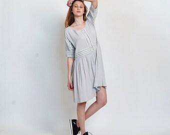 Placket Eyelet midi dress ,Silver.