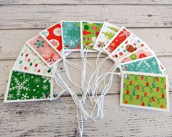Gift Tags, Gift Tag Set, Assorted Gift Tags, Paper Tags, Folded Tags, Christmas Gift Tags, Set of 12 Folded Gift Tags, Holiday Gift Tags