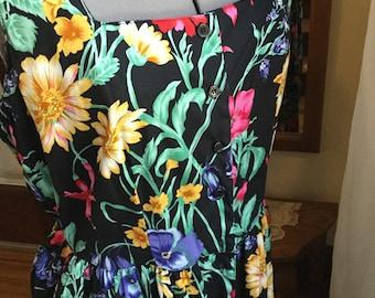 Vintage 80s Floral Summer Halter Dress Size 14 Like New