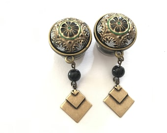 """Art Deco Mosaic Dangle Plugs 000g 7/16"""" 1/2"""" 9/16"""" Gold, Green, White Accents 11mm 12mm 14mm Bronze Hanging Gauges"""