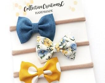Small Bow Headbands - Newborn Headbands - Tiny Baby Bows - Set of Bows - Chambray Mustard Floral - Mini Bows - Nylon Headbands - Bow Clips
