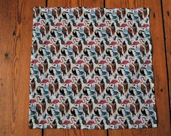 Handmade Liberty Fabric Pocket Square Handkerchief in Birds of Paradise in Pink and Brown