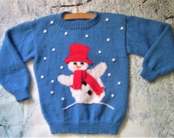 Handknitted childrens Christmas holiday blue sweater / jumper with snowman motif picture for girls boys, original design OOAK, custom orders