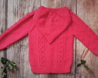 Hand knitted toddler girl jumper hoodie aran cable long sweater jacket with hood, pink pomegranate children's handmade cardigan OOAK