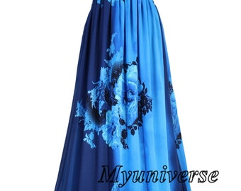 Dress Plus Size Maxi Dress Women Plus Sizes Clothing Long Blue Floral Dress Casual Beach Party Wedding Guest Blue Chiffon Summer Sundress