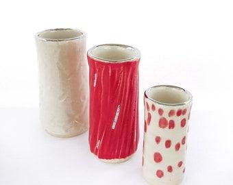 Ceramic Vase. Red Vase. Bud vase. Mini Vase. White Vase. Modern Decor. White Gold.