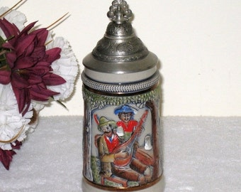 Vintage Original KING Lidded Beer Stein Made In Western Germany / Stoneware With Pewter Lid / 300 On Bottom / Mint Condition