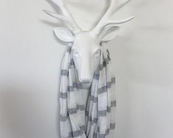 Stripe Infinity Scarf - Heather Gray & White - Cotton Jersey Knit