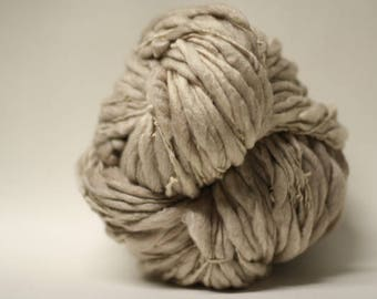 Thick and Thin Handspun Yarn Super Bulky Slub Polwarth Silk tts(tm) Hand dyed One-Pounder Parchment PS17017