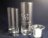 Personalized Unity Sand Ceremony  Set Cylinder with Hanging Votive Candle holder