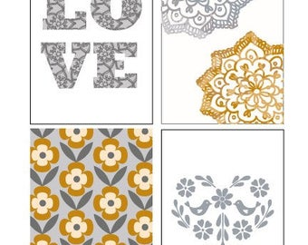 """Set of 4 prints in size 5x7"""" Golden, silver love lace floral art prints"""