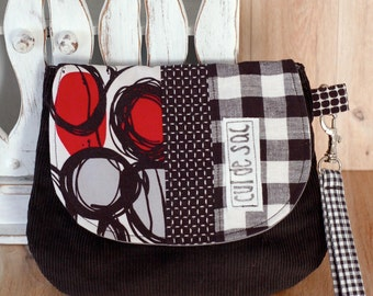 Eco friendly wrislet clutch  small bag evening purse with wrist strap and flap recycled fabric  messenger style polka dots red black
