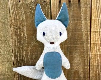 Vincent Coyote, organic coyote, organic stuffed animal, organic plush, coyote, coyote stuffed animal, woodland, handmade toy, handmade plush