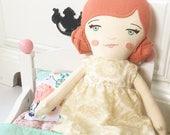 Norah: heirloom doll, cloth doll, handmade doll, rag doll, girl doll