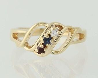 Garnet, Sapphire, & Diamond Ring - 14k Yellow Gold Three-Stone .19ctw N5349