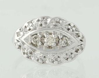 Vintage Diamond Ring - 14k White Gold Size 4 1/4 Women's .23ctw N5189