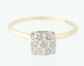 Vintage Diamond Engagement Ring - 10k Yellow & White Gold Size 6 1/2 Unique Engagement Ring N8561