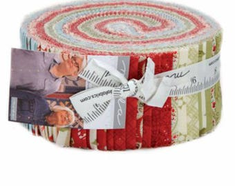 "Snowfall Jelly Roll by Minick & Simpson of Moda Fabrics, 14830JR, New Christmas 2017 Jelly Roll, 40 - 2 1/2 x 44/45"" Precut Strips"