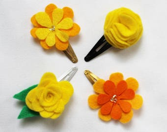 Yellow Baby Hair Clips - Set of 4 Baby Snap Clips - Yellow Hair Bows  - Felt Hairclip for Babies and Toddlers