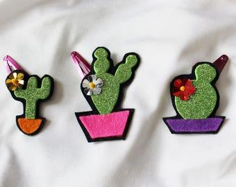 Set of 3 Cactus Hair Clip - Glitter Hair Clip - Ready to ship